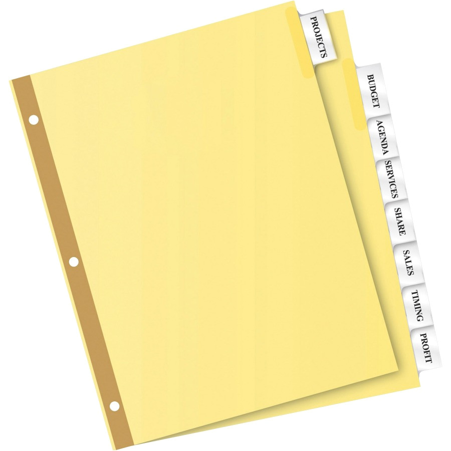 avery big tab buff colored insertable dividers gold reinforced ave11115