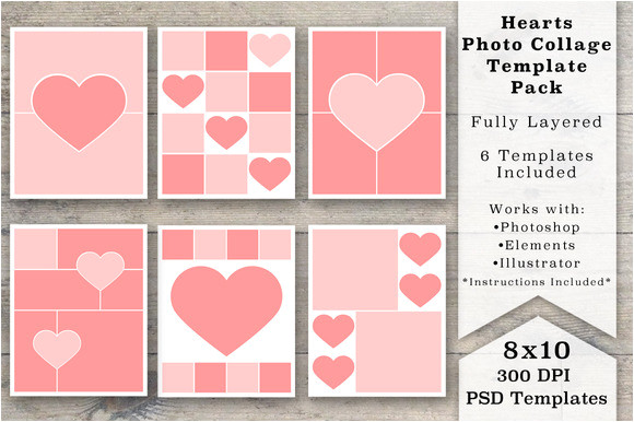 342346 8x10 heart photo collage templates