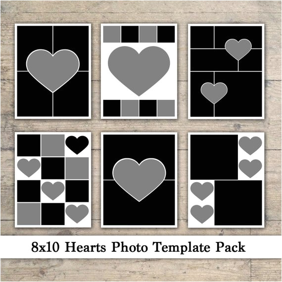 8×10 Photo Collage Template 8×10 Photo Template Pack Heart Templates Photo Collage