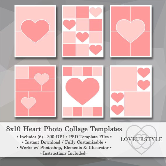 8x10 photo template pack heart templates