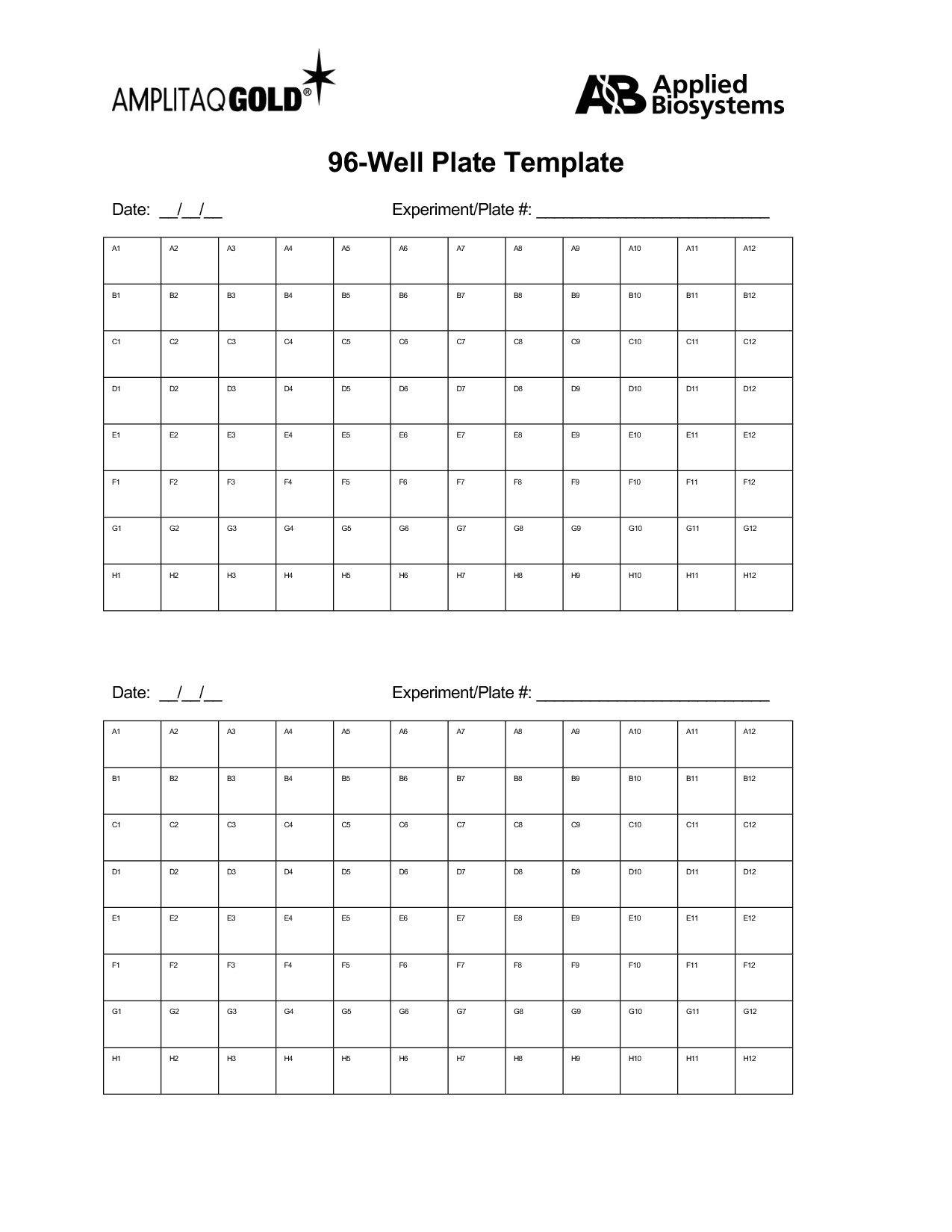 96 well plate template