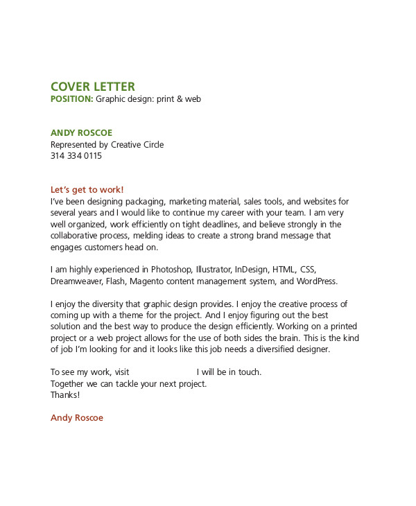 graphic design cover letter