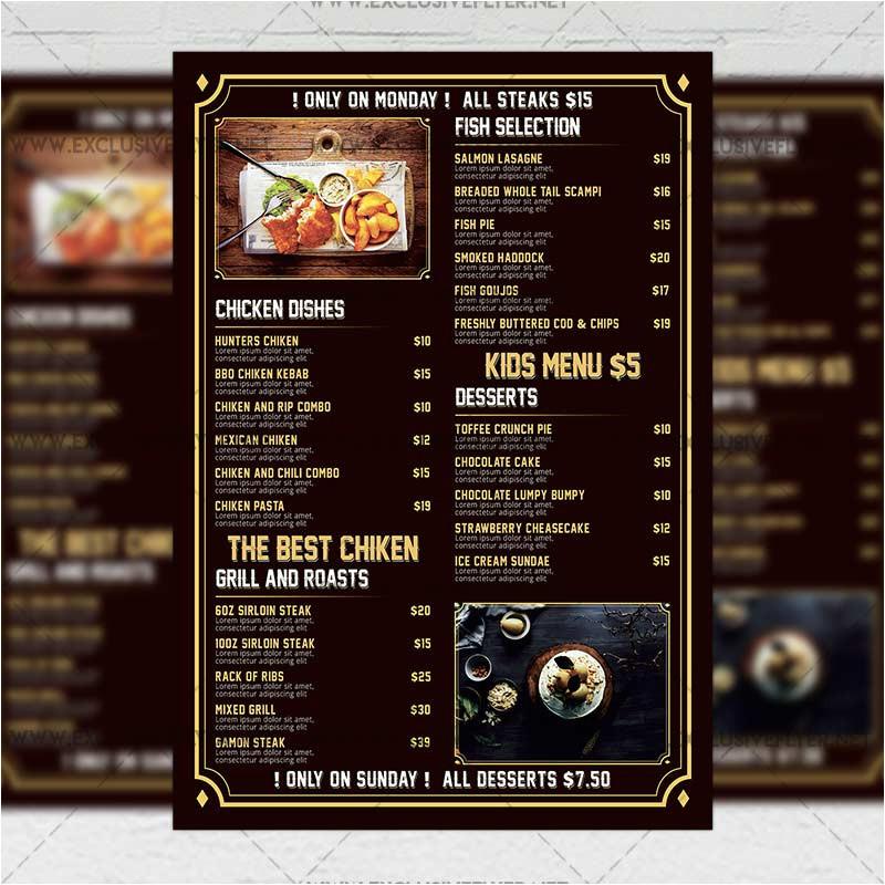 beer pub menu premium a5 flyer template