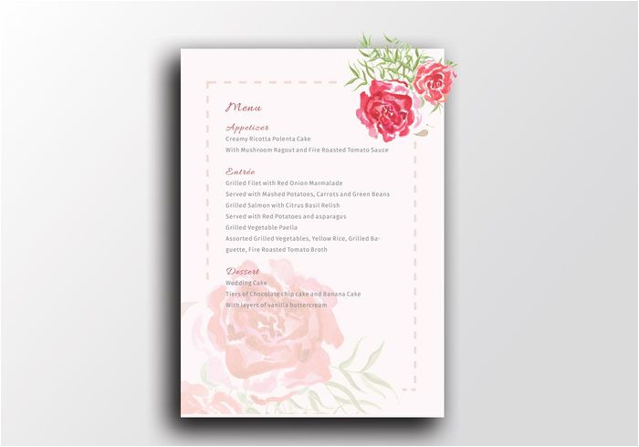 55840 watercolour wedding print menu template a5 the smell of roses