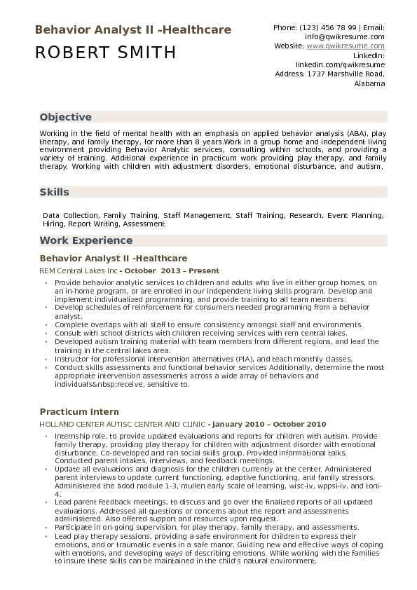 Aba Program Template Behavior Analyst Resume Samples Qwikresume