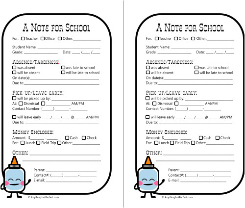 post printable absent notes to school 345956