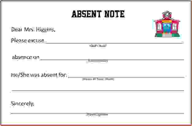 Absent Notes for School Templates 9 Doctors Note for School Absenceagenda Template Sample