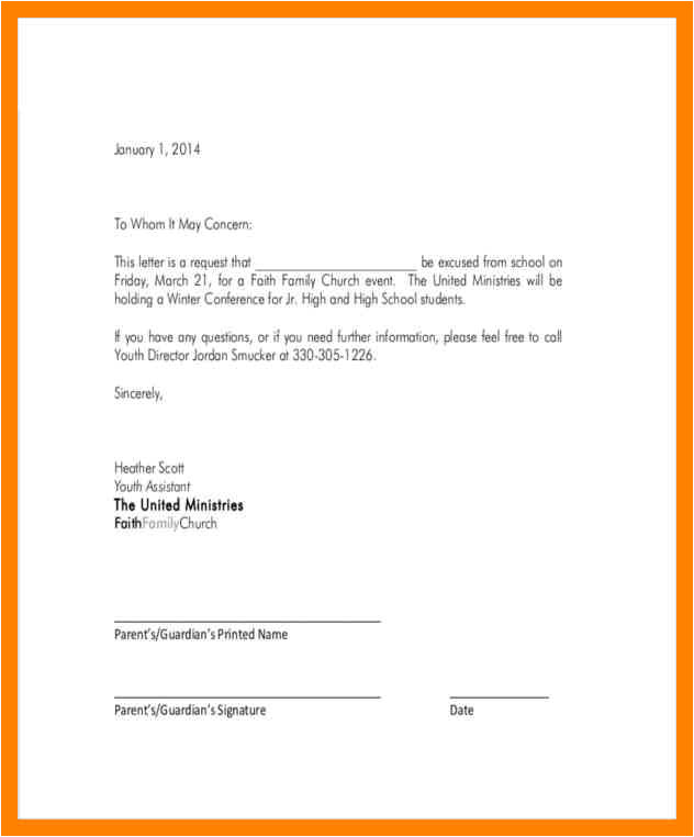 excused absence template