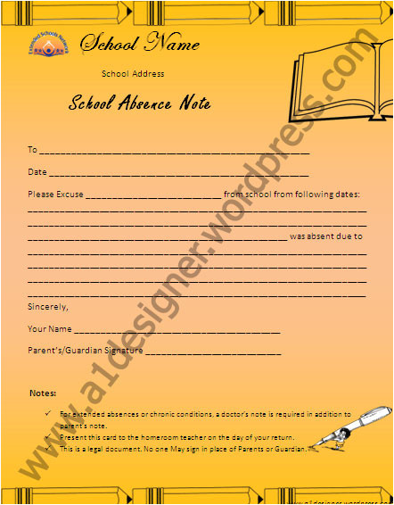 Absent Notes for School Templates School Absence Report Template Graphics and Templates