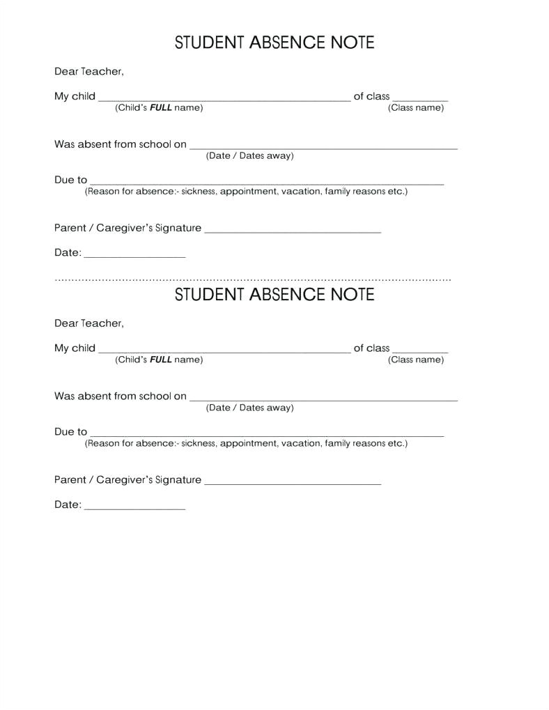 sick note template for school