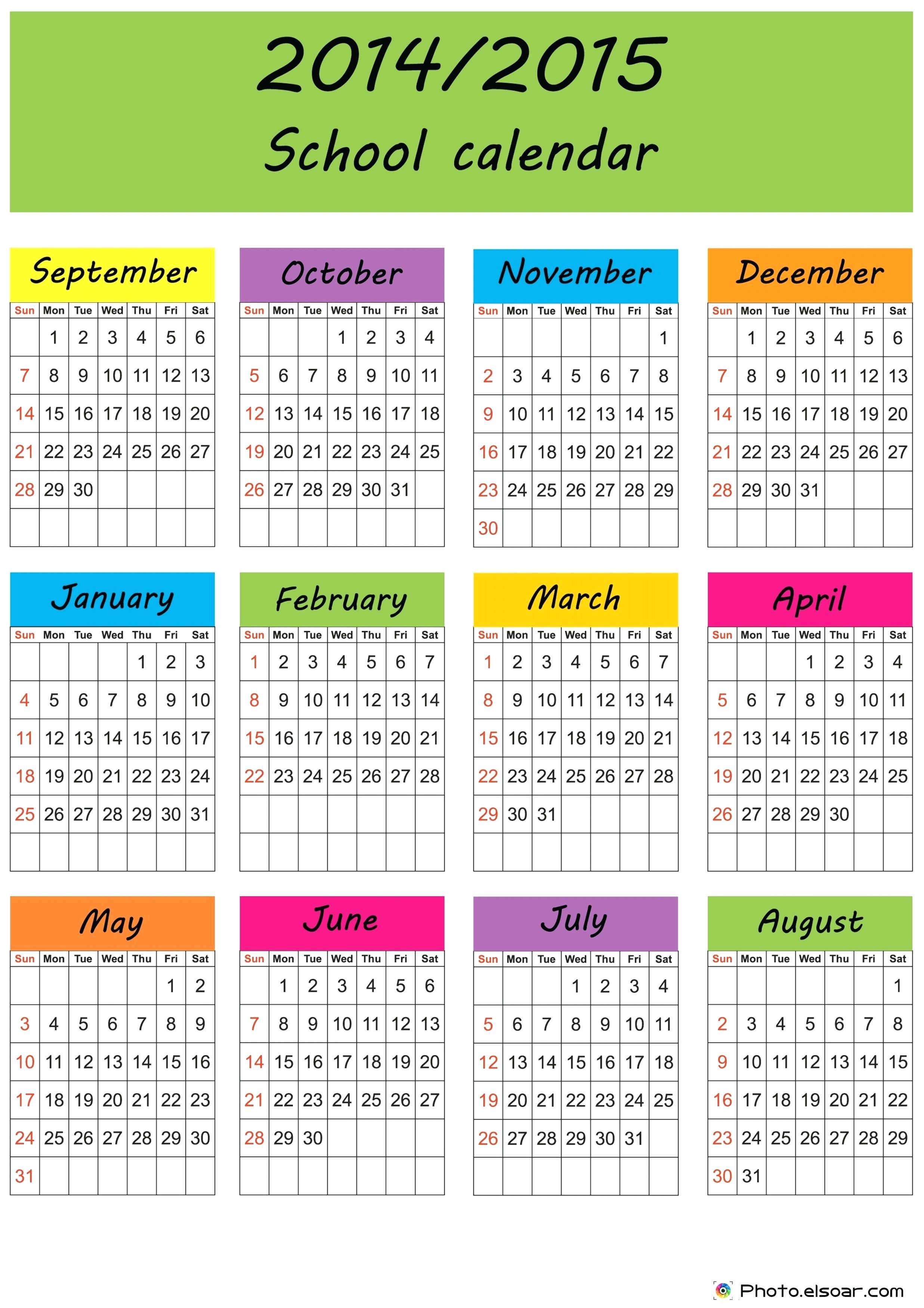 2014 15 academic calendar template
