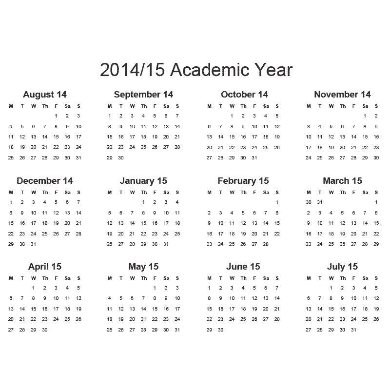 Academic Calendar Template 2014-15 2014 15lscape Gif