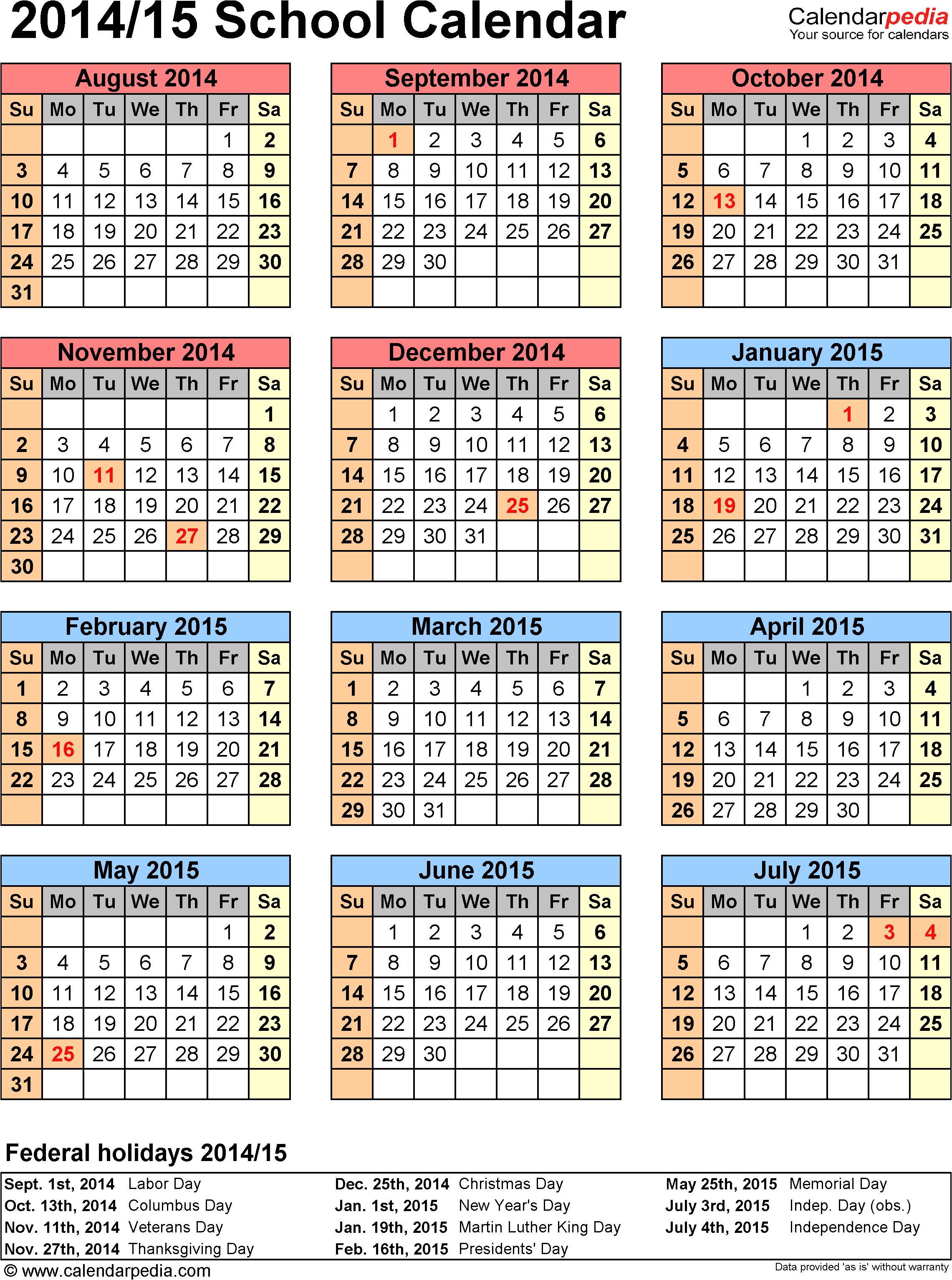 Academic Calendar Template 2014-15 School Calendars 2014 2015 as Free Printable Excel Templates