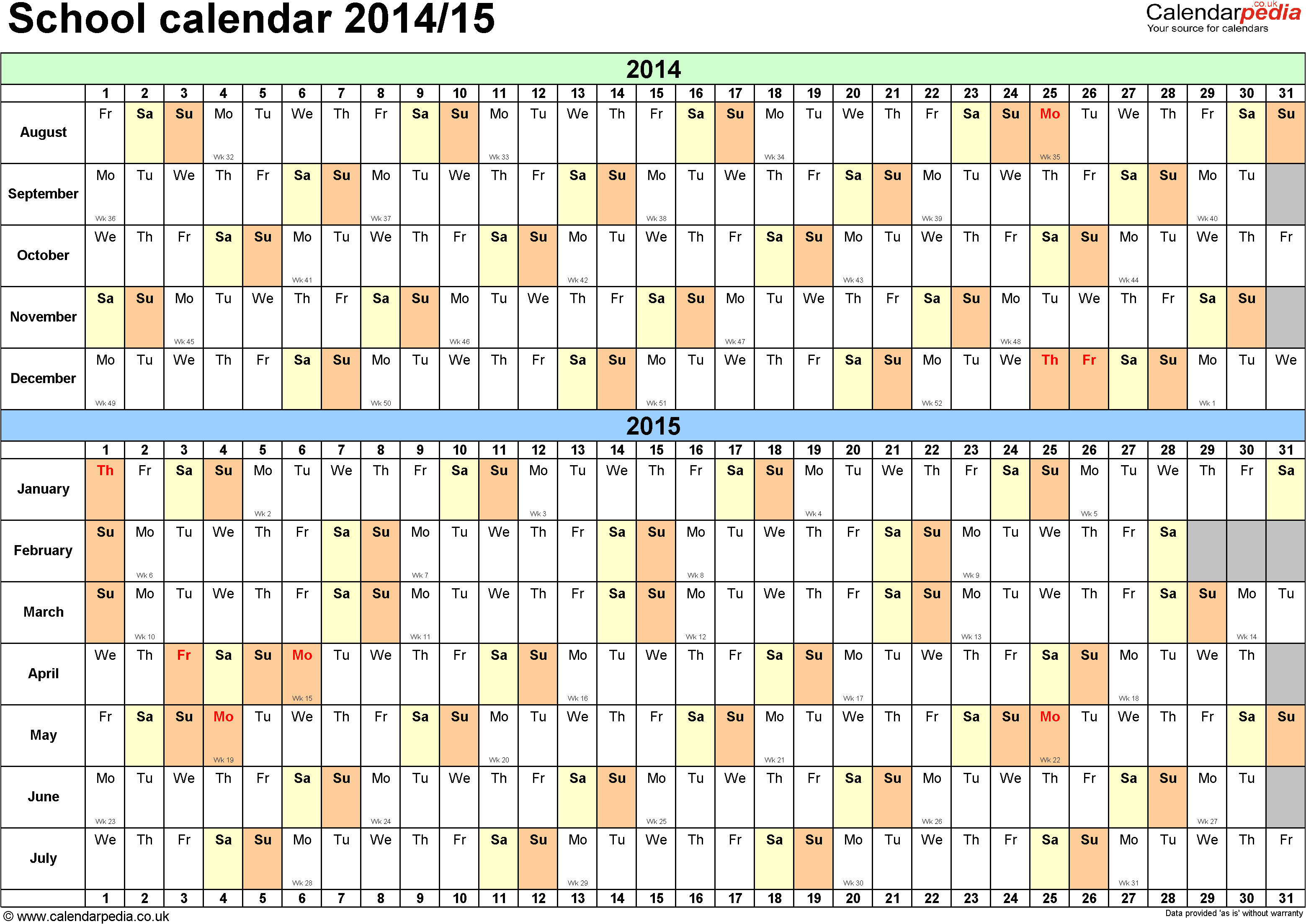 Academic Calendar Template 2014-15 School Calendars 2014 2015 as Free Printable Pdf Templates