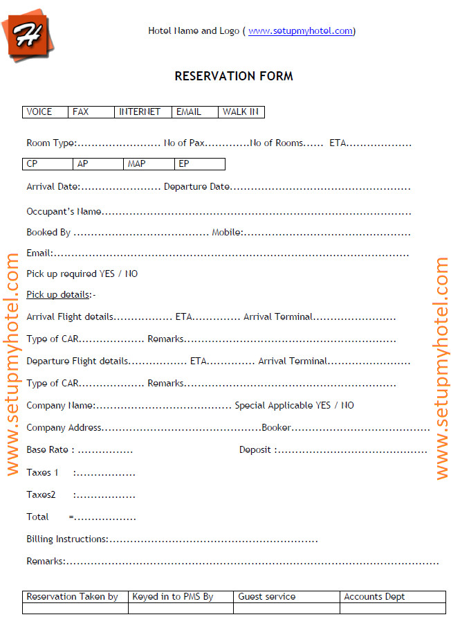 116 reservation form for hotels