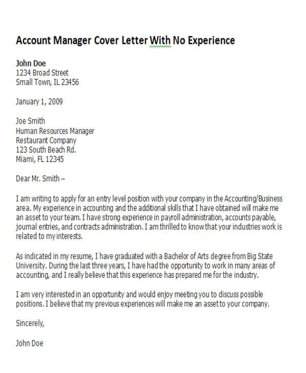 account manager cover letter