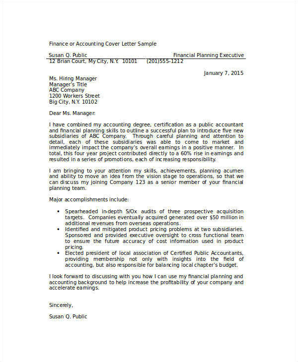 Accounting and Finance Cover Letter Examples 8 Basic Cover Letter Samples Sample Templates