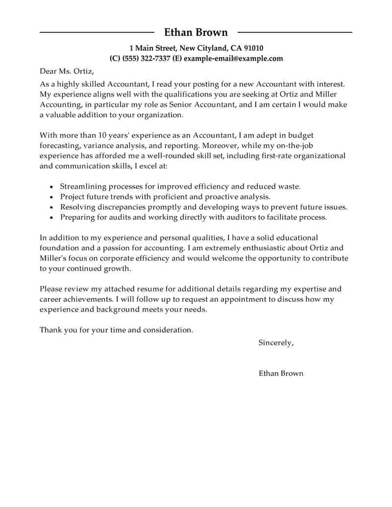 Accounting and Finance Cover Letter Examples Best Accountant Cover Letter Examples Livecareer