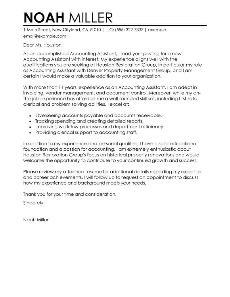 Accounting and Finance Cover Letter Examples Best Accounting assistant Cover Letter Examples Livecareer