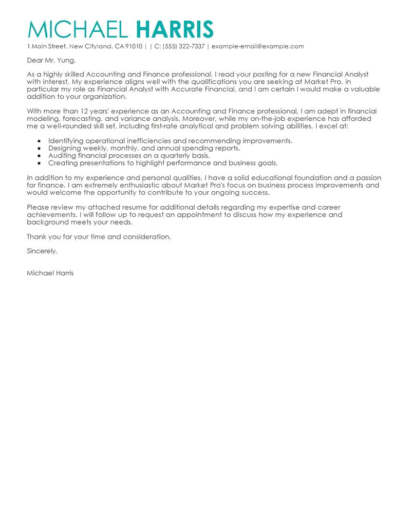Accounting and Finance Cover Letter Examples Best Accounting Finance Cover Letter Examples Livecareer