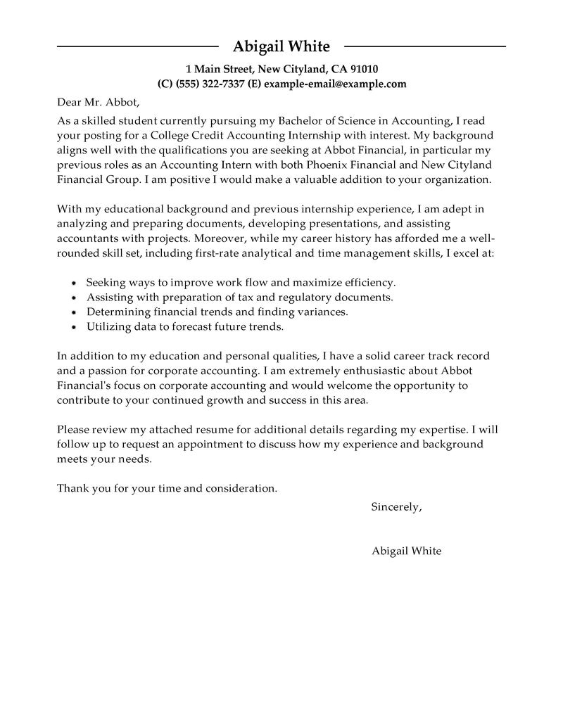 Accounting and Finance Cover Letter Examples Training Internship College Credits Cover Letter Examples