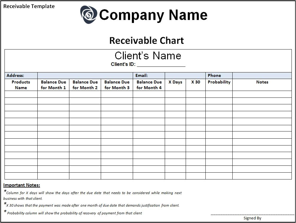 Accounts Receivable forms Templates Receivable Template Free Printable Word Templates
