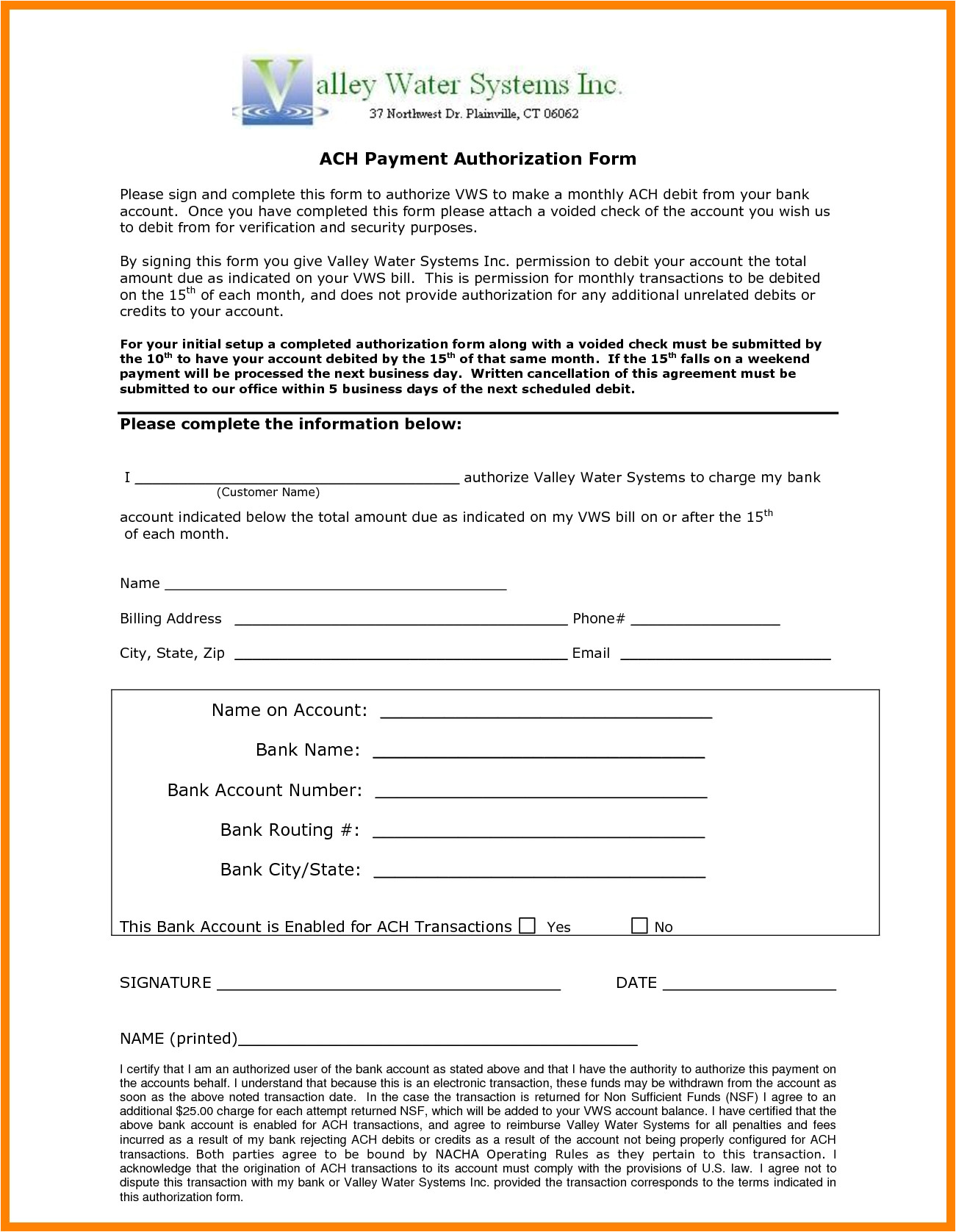 10 ach payment form template
