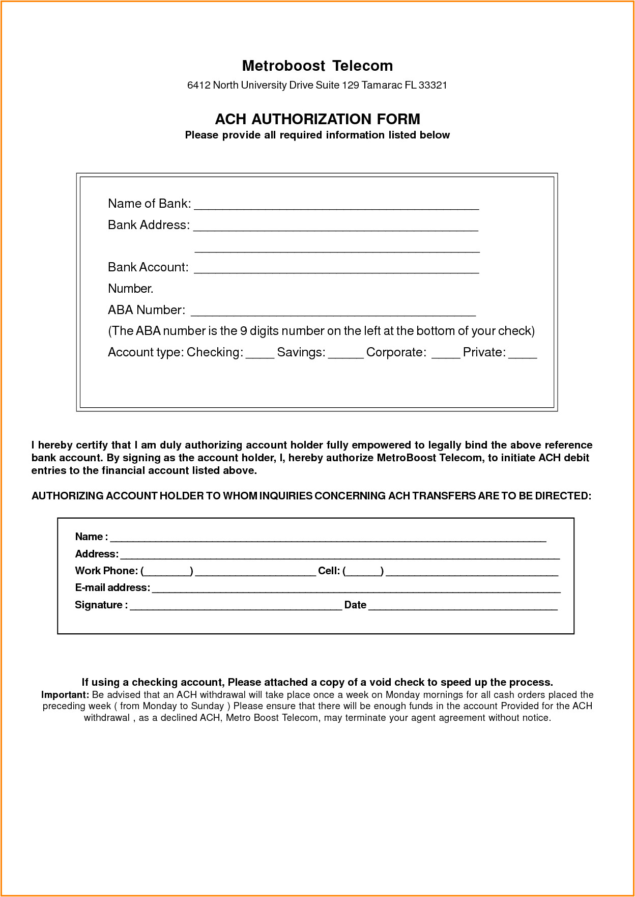 8 ach authorization form template