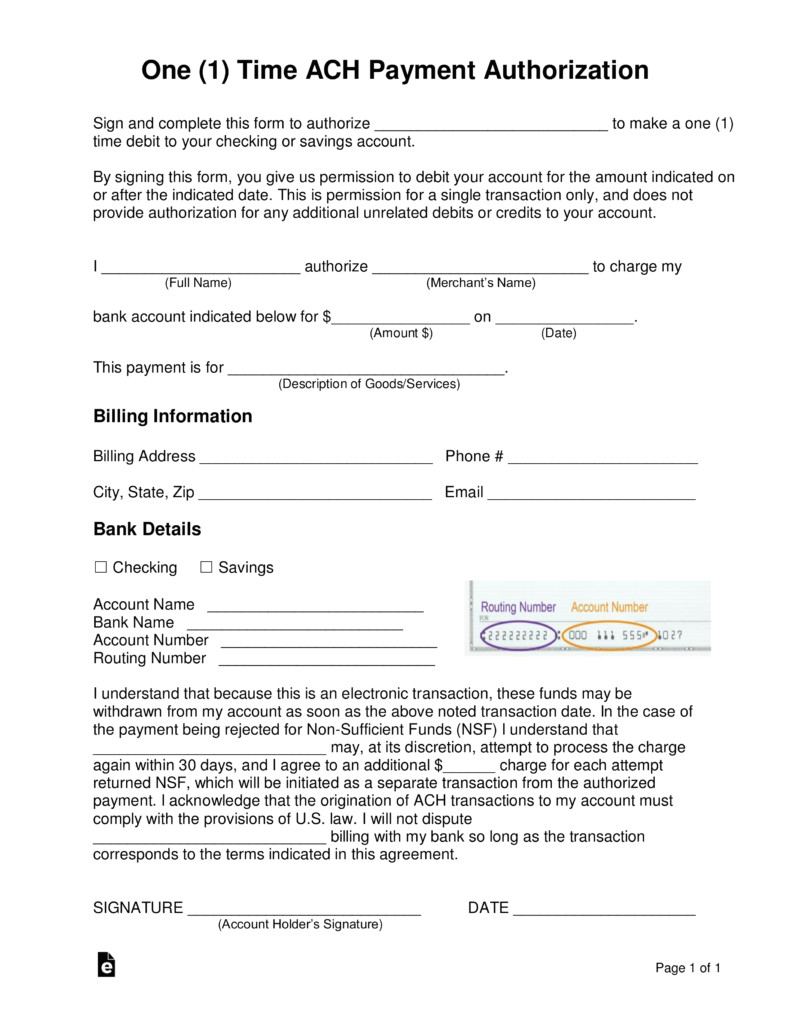 Ach forms Templates Ach Authorization form Template Ach Authorization form