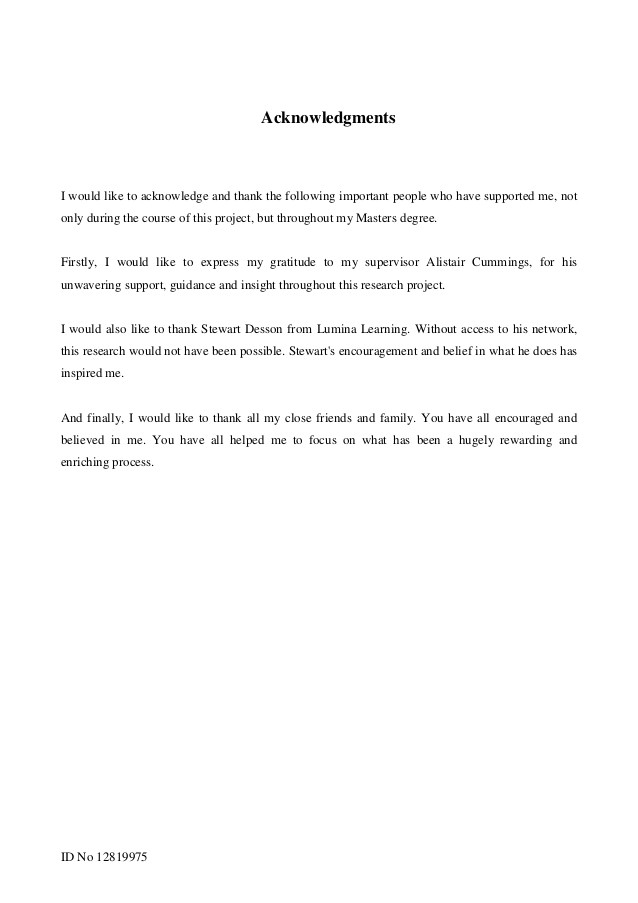 dissertation acknowledgement