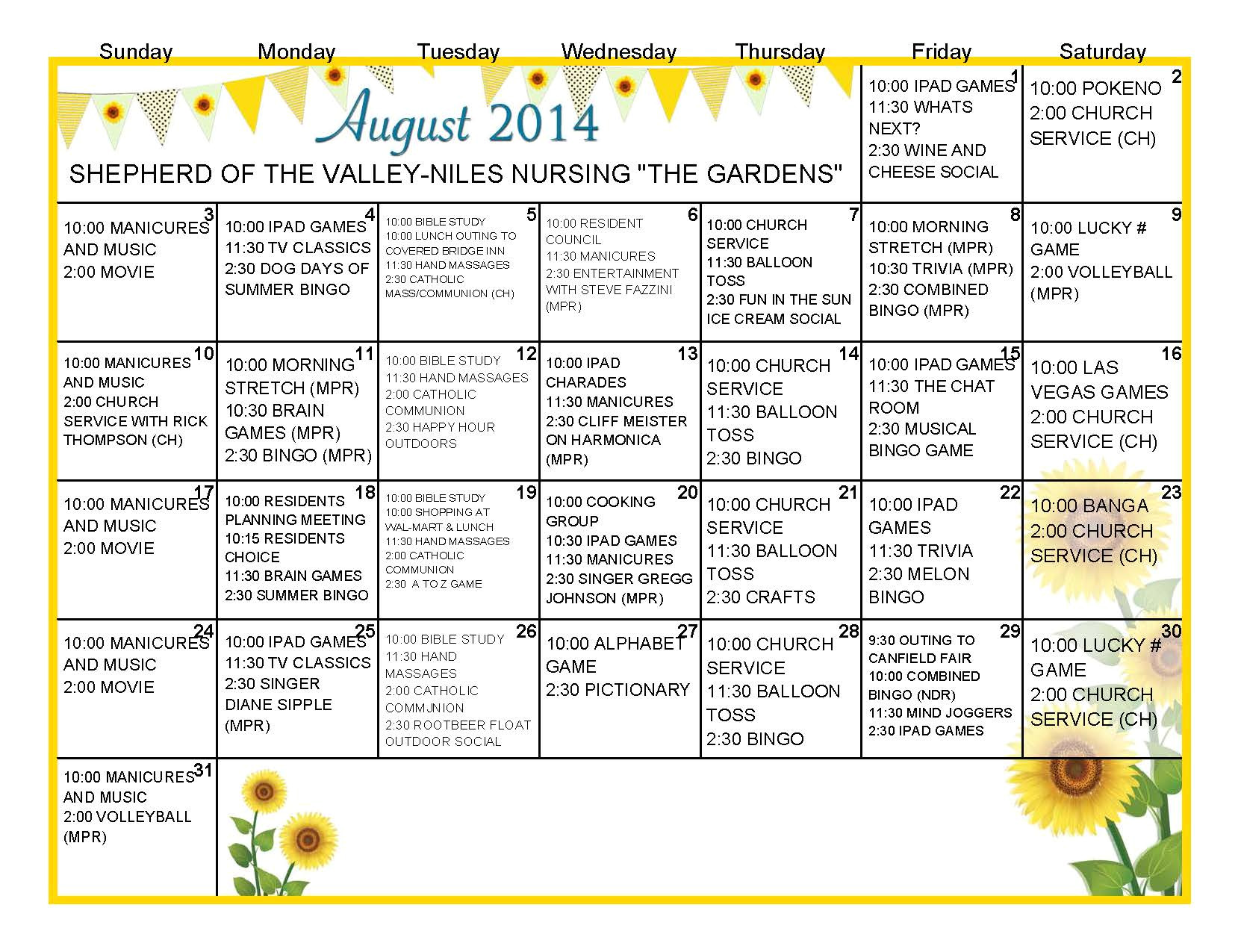 activity calendar template for seniors