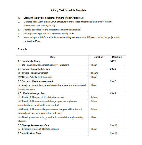 activity schedule template