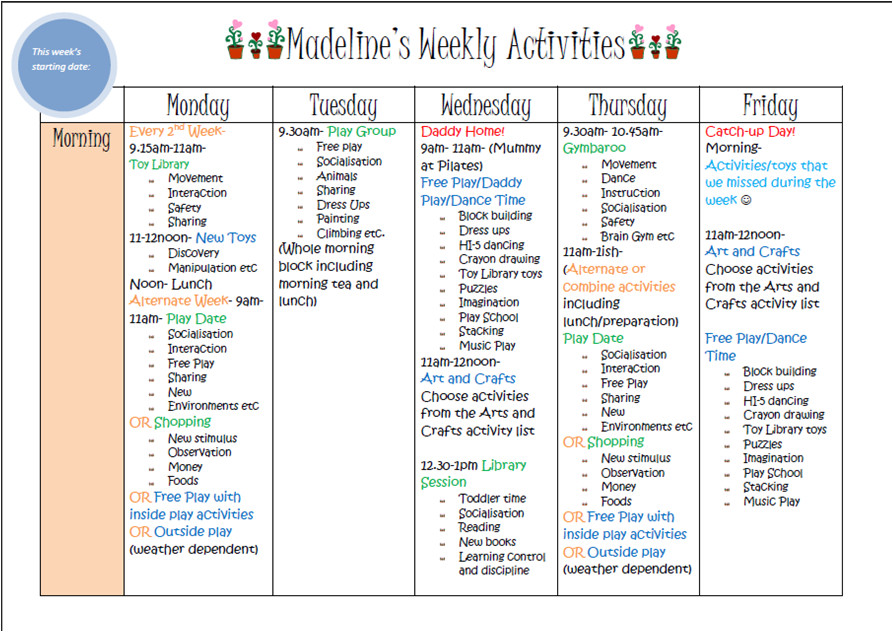 Activity Programme Template Learn with Play at Home Weekly Kids Activity Planner