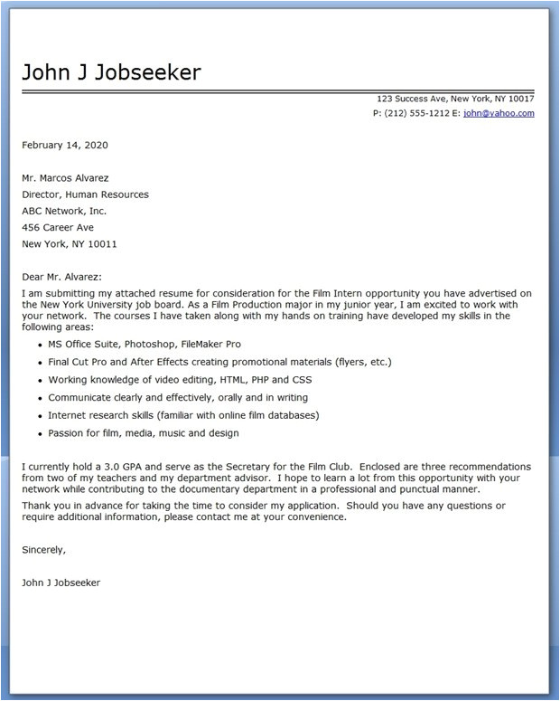 cover letter for actuarial internship example