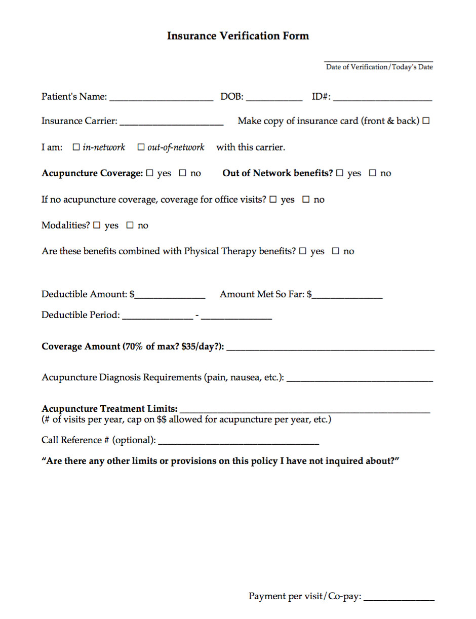 acupuncture intake form template