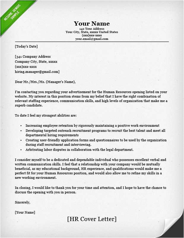Addressing A Cover Letter to Human Resources Human Resources Cover Letter Sample Resume Genius
