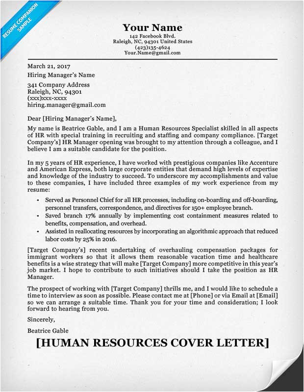 Addressing A Cover Letter to Human Resources Human Resources Cover Letter Writing Sample Resume