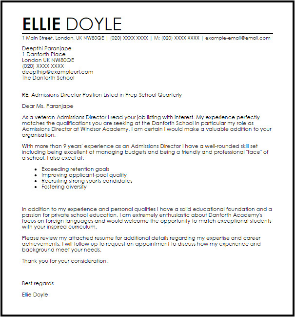 admissions director