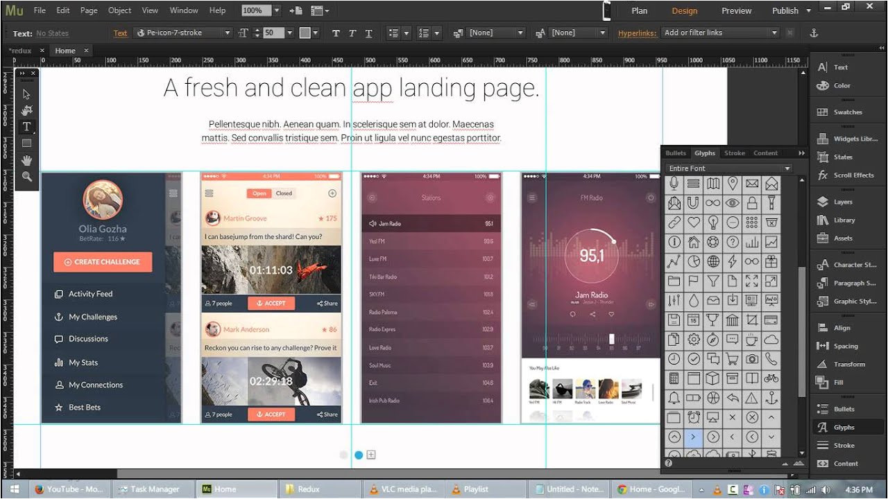 Adobe Muse Cc Templates Redux Free App Landing Page Template for Adobe Muse Cc