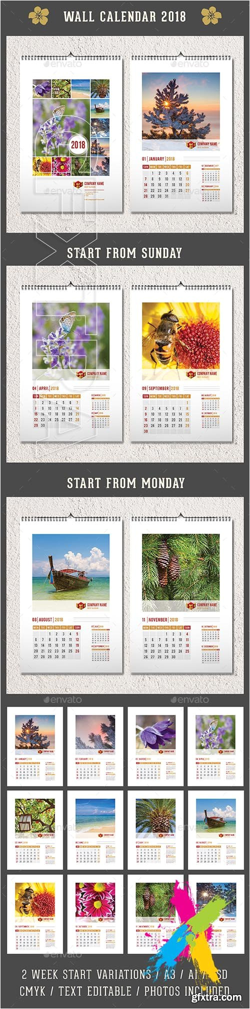 Adobe Photoshop Calendar Template Gr Wall Calendar 2018 20174693 Vector Photoshop