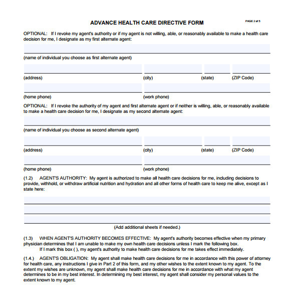 sample advance directive form