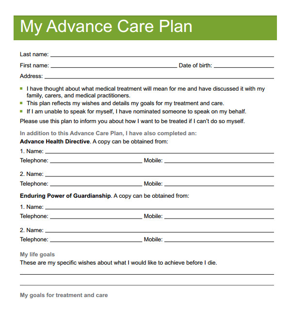 advance care directive template uk