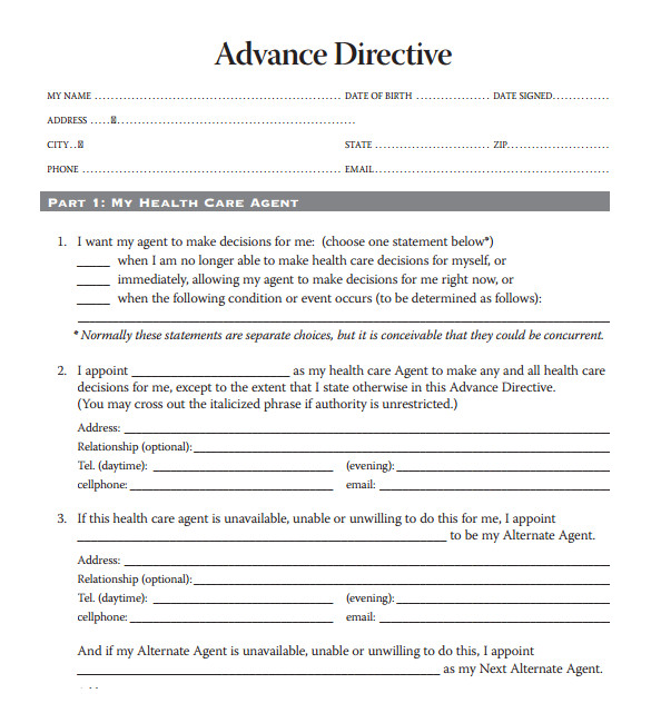 Advance Care Directive Template Medical Directive Template