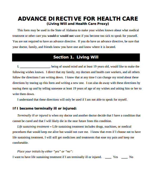 Advanced Directive Template 10 Advance Directive forms Samples Examples format