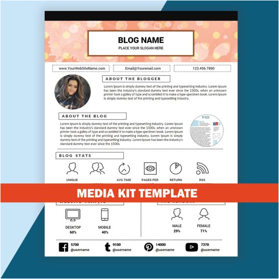 blog media kit template mixed media kit