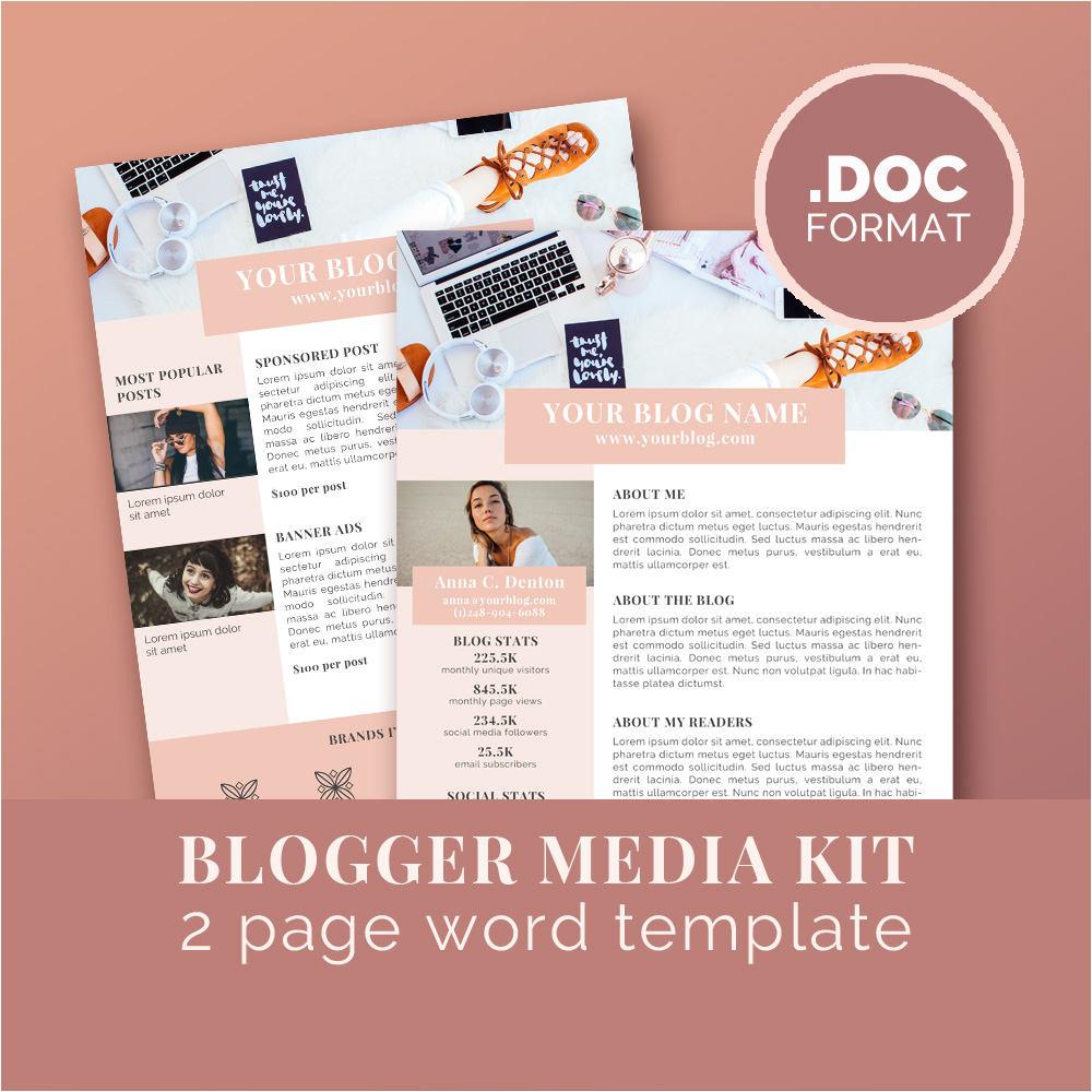 media kit template blog marketing kit
