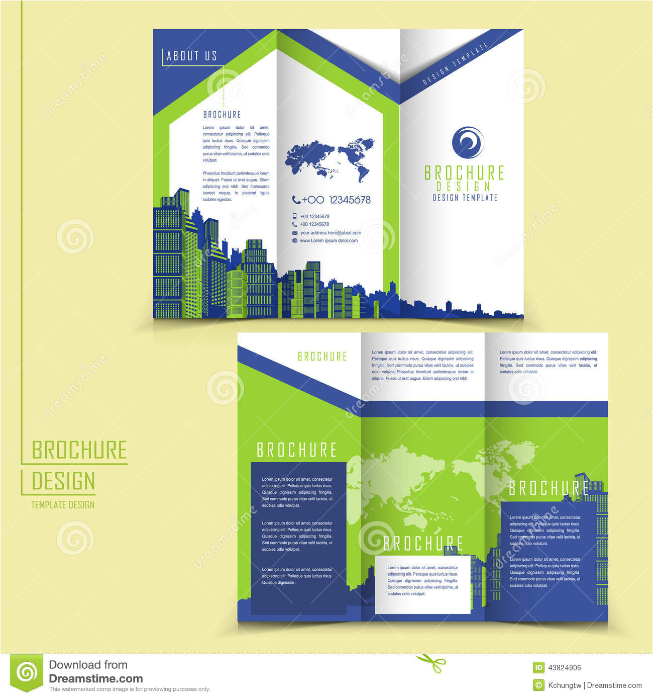 stock illustration modern style tri fold brochure template business advertising buildings elements image43824906