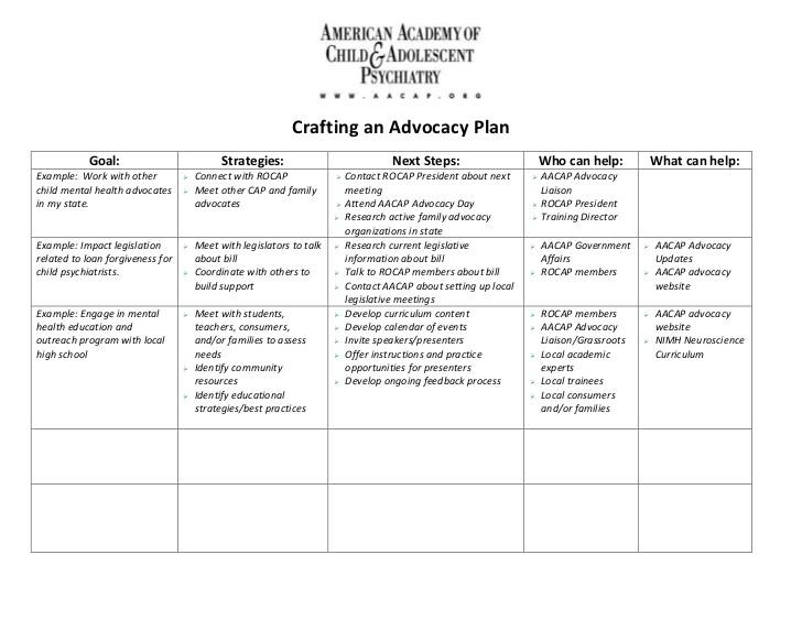 advocacy planning document
