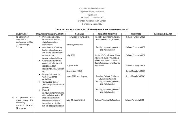 senior high advocacy plan 2016 2017