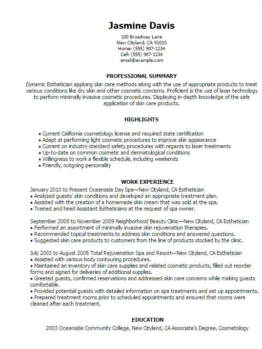 Aesthetician Resume Samples 12 Sample Esthetician Resume 2016 Samplebusinessresume
